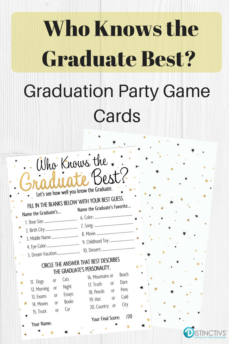 Who Knows The Graduate Best - Graduation Party Game Cards - 25 Count - Free Printable Graduation Party Games