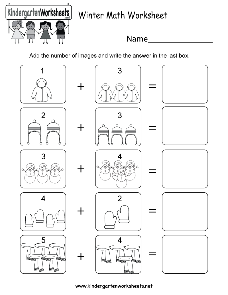 Winter Math Worksheet - Free Kindergarten Seasonal Worksheet For Kids - Free Printable Winter Preschool Worksheets