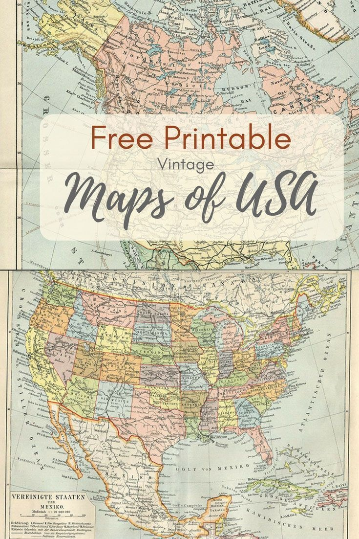 Wonderful Free Printable Vintage Maps To Download | Printables - Free Printable Usa Map