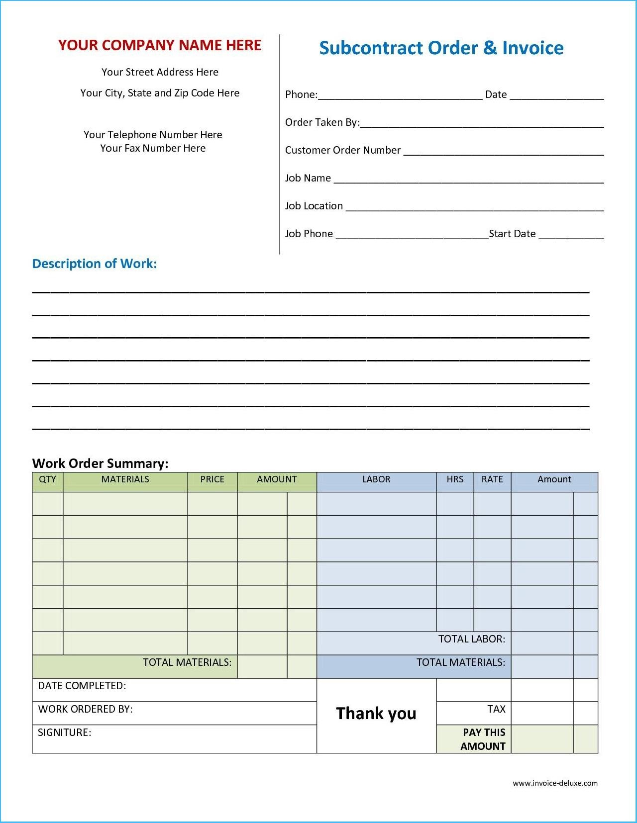 Work Invoice Template Free #5890 - Free Printable Work Invoices