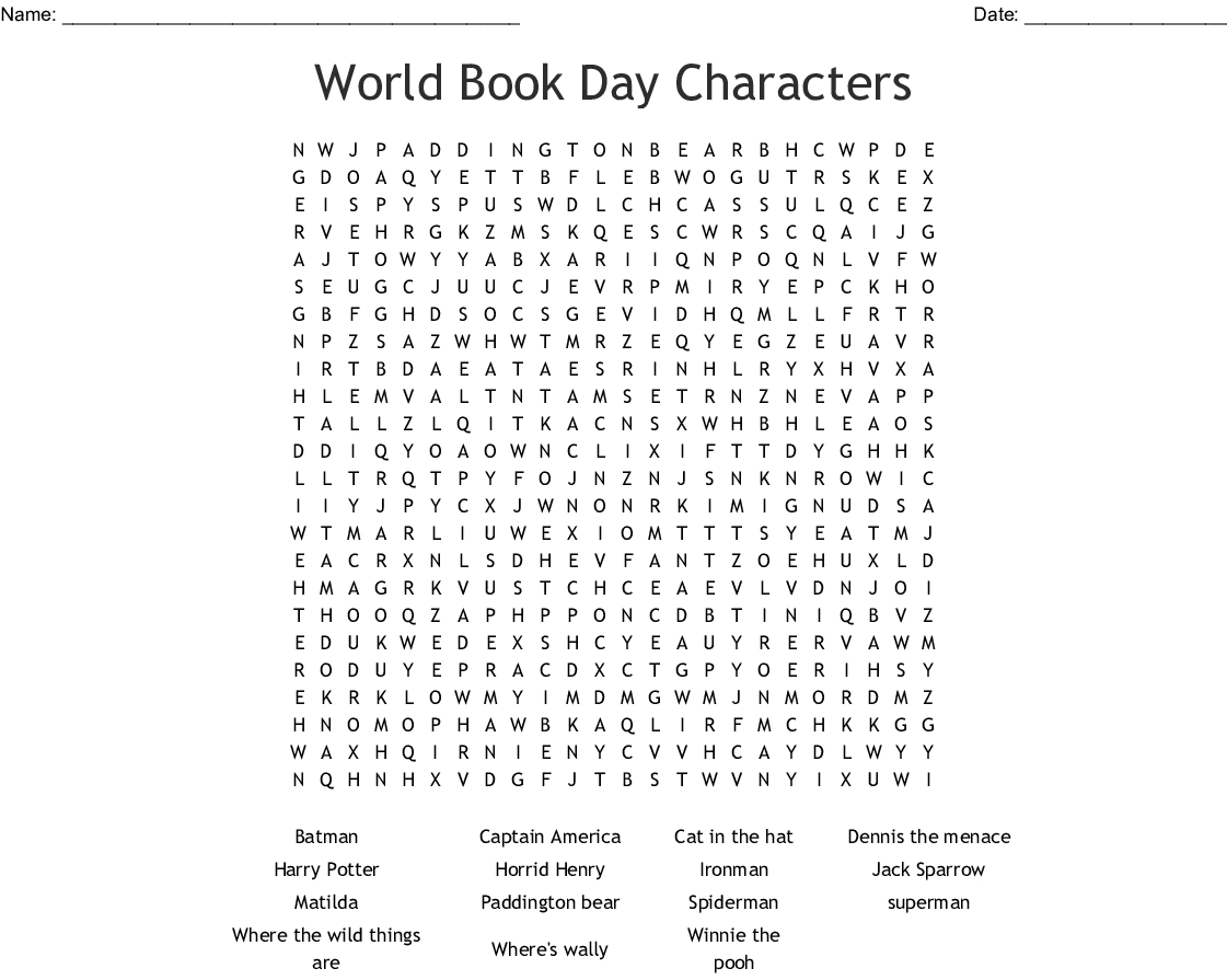 World Book Day Characters Word Search - Wordmint - Word Search Maker Free Printable