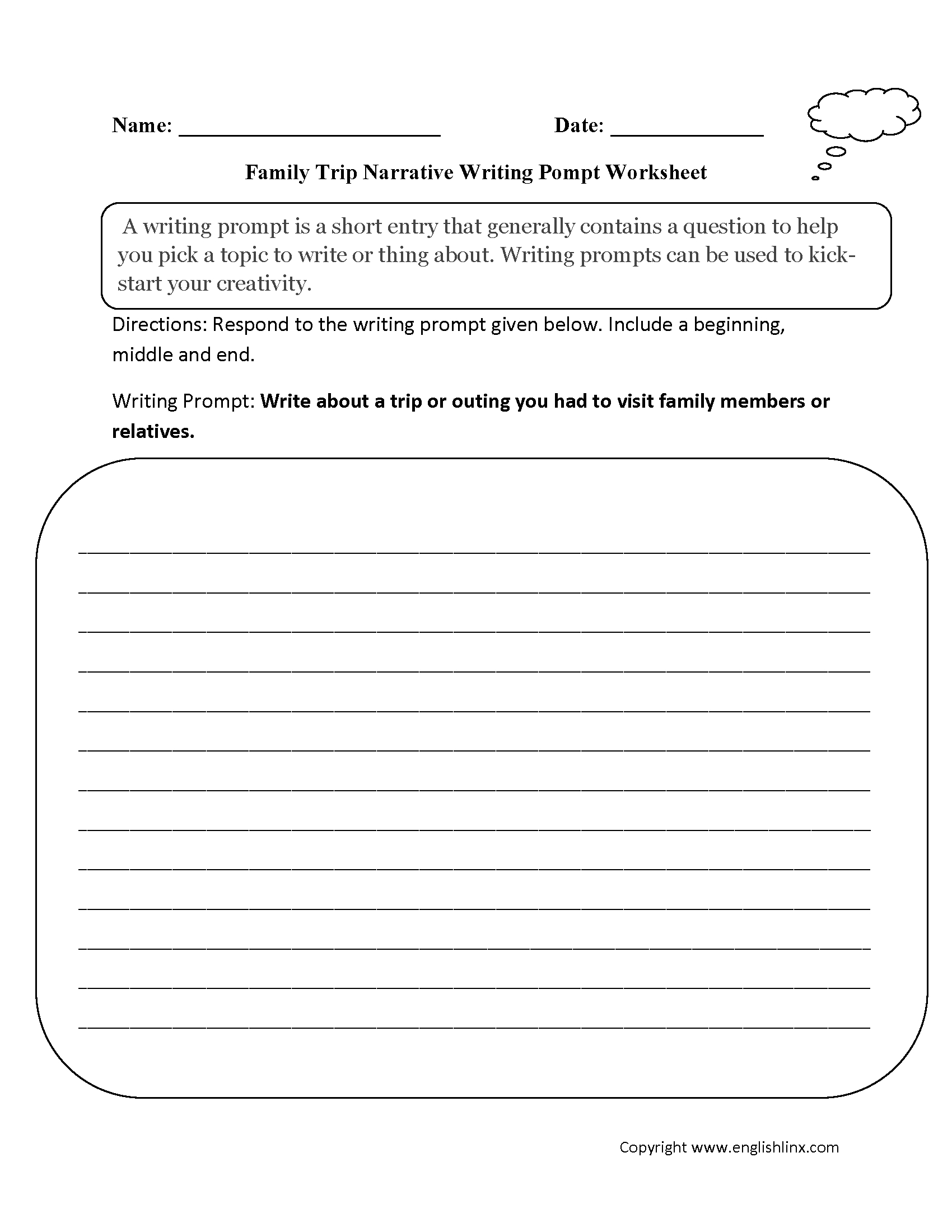 Writing Prompts Worksheets | Narrative Writing Prompts Worksheets - 6Th Grade Writing Worksheets Printable Free