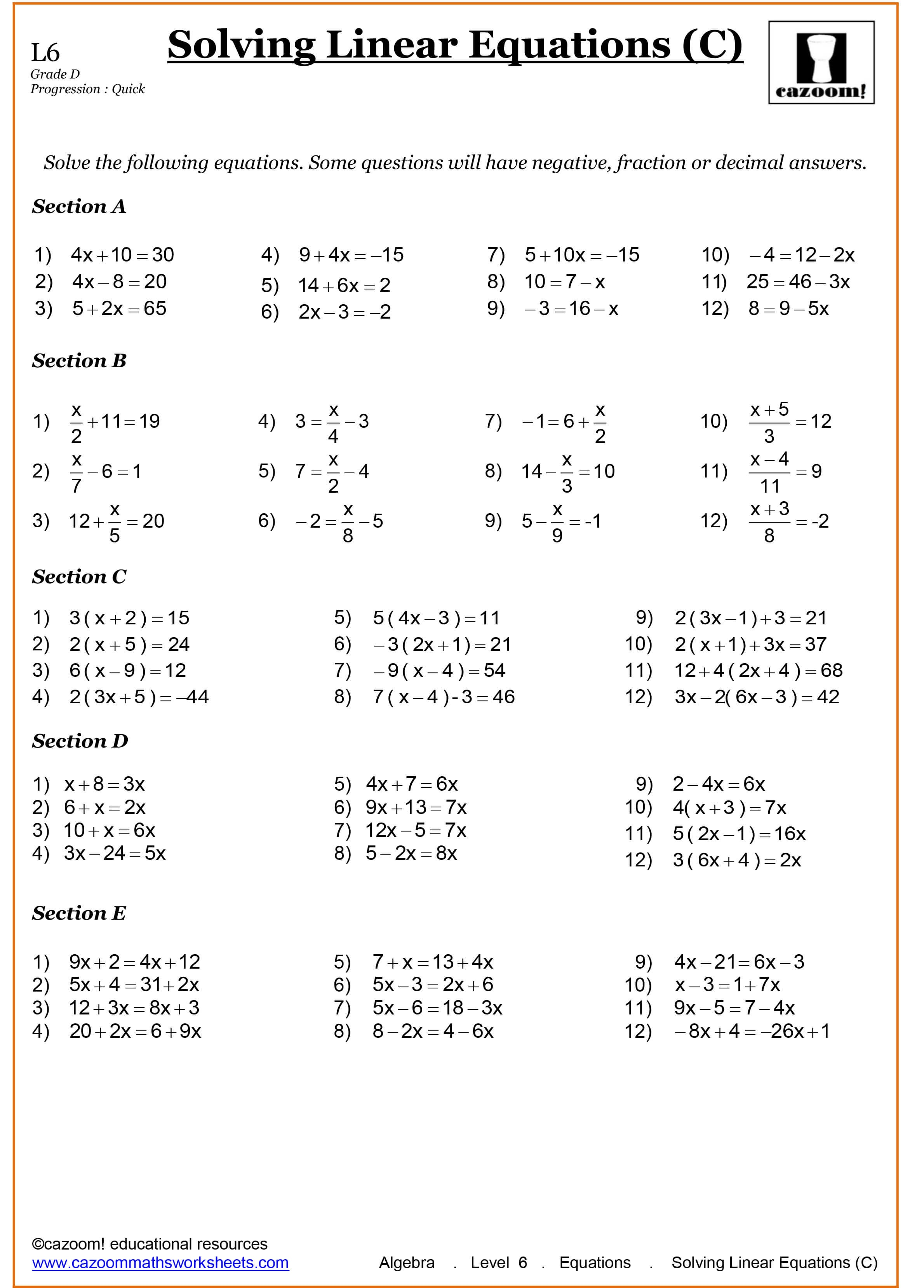 Year 9 Maths Worksheets | Printable Maths Worksheets - Grade 9 Math Worksheets Printable Free With Answers