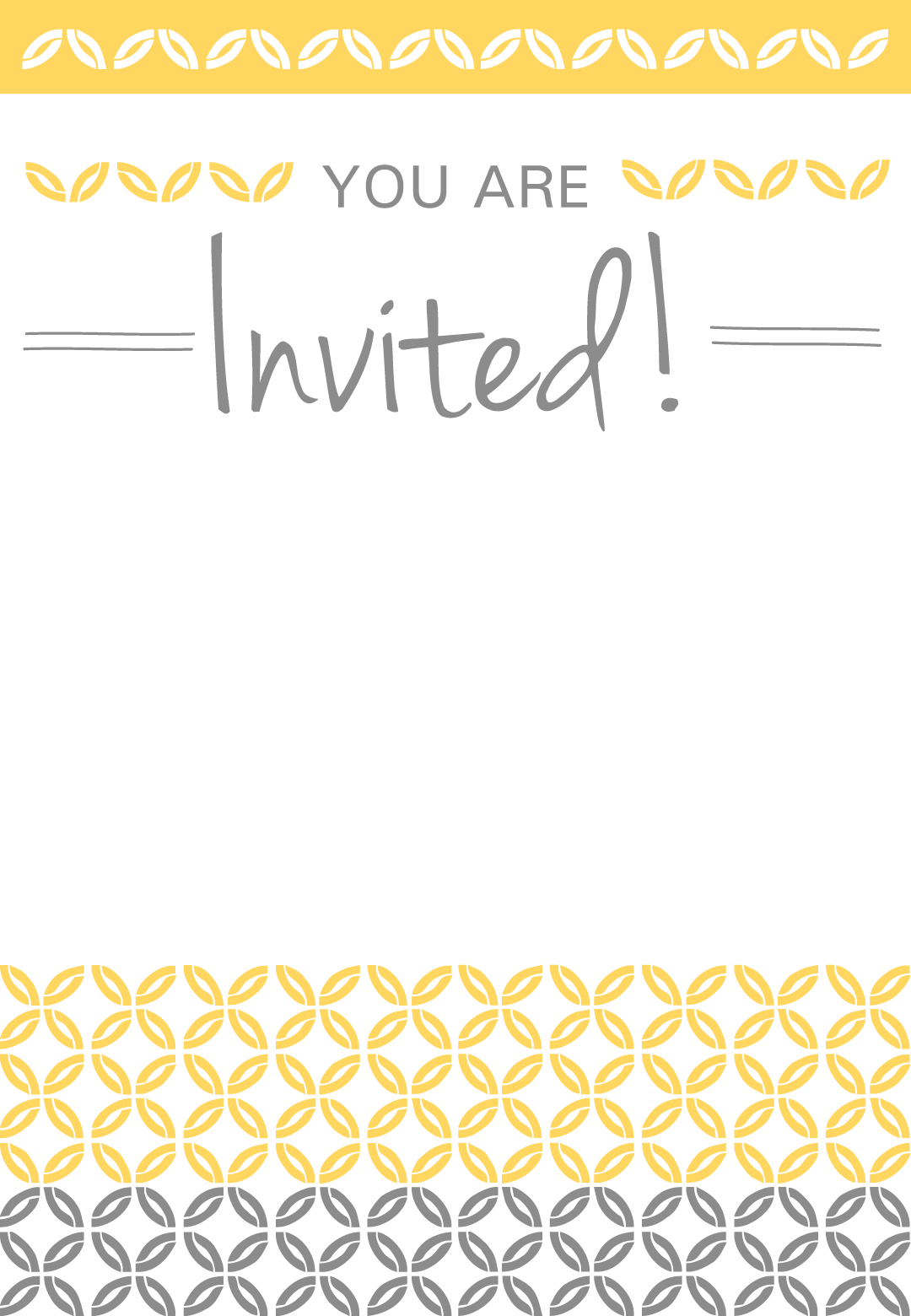 Yellow Ornaments - Free Printable Party Invitation Template - Free Printable Event Invitations