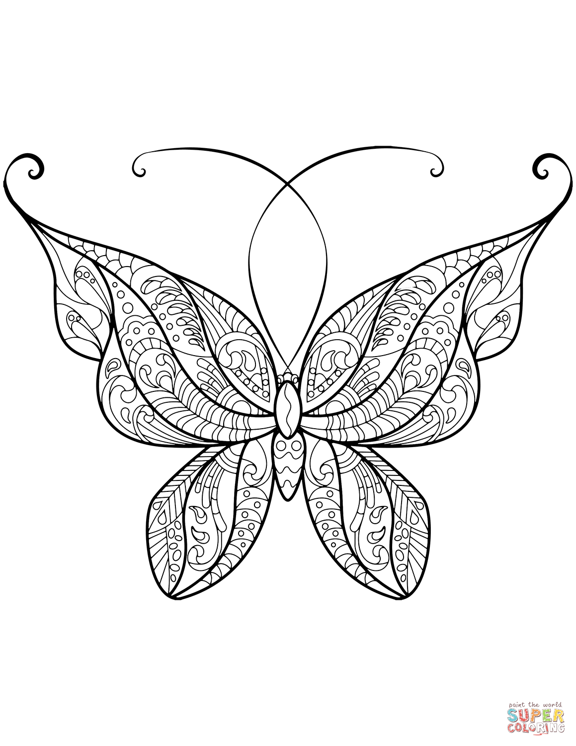 Zentangle Butterfly Coloring Page | Free Printable Coloring Pages - Free Printable Butterfly Coloring Pages