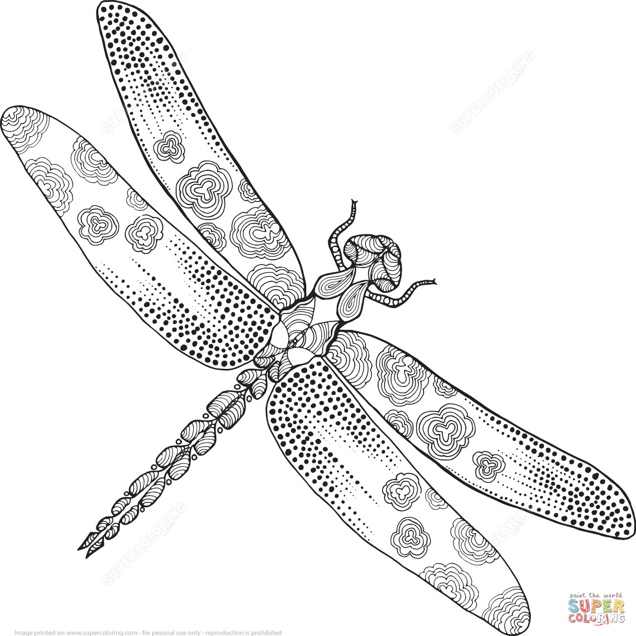 Zentangle Dragonfly Coloring Page | Free Printable Coloring Pages - Free Printable Pictures Of Dragonflies