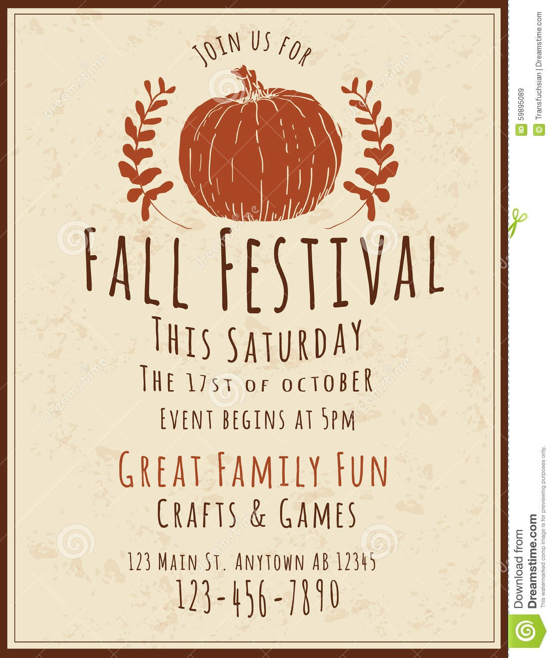 003 Fall Festival Flyers Templates Flyer Template Simple Retro Hand - Free Printable Fall Flyer Templates