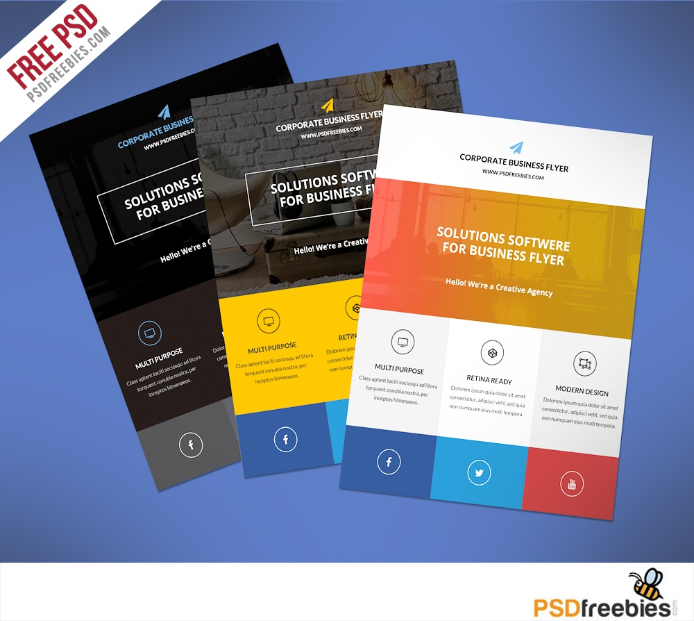 009 Free Printable Flyer Templates Business Flat Clean Corporate Psd - Free Printable Business Flyers
