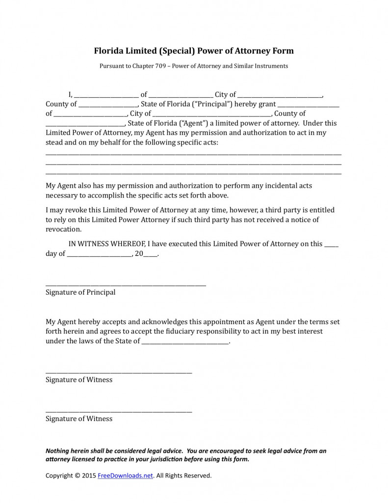 013 Power Of Attorney Form Templates Dmv Florida New Pdf - Free Printable Power Of Attorney Form Florida