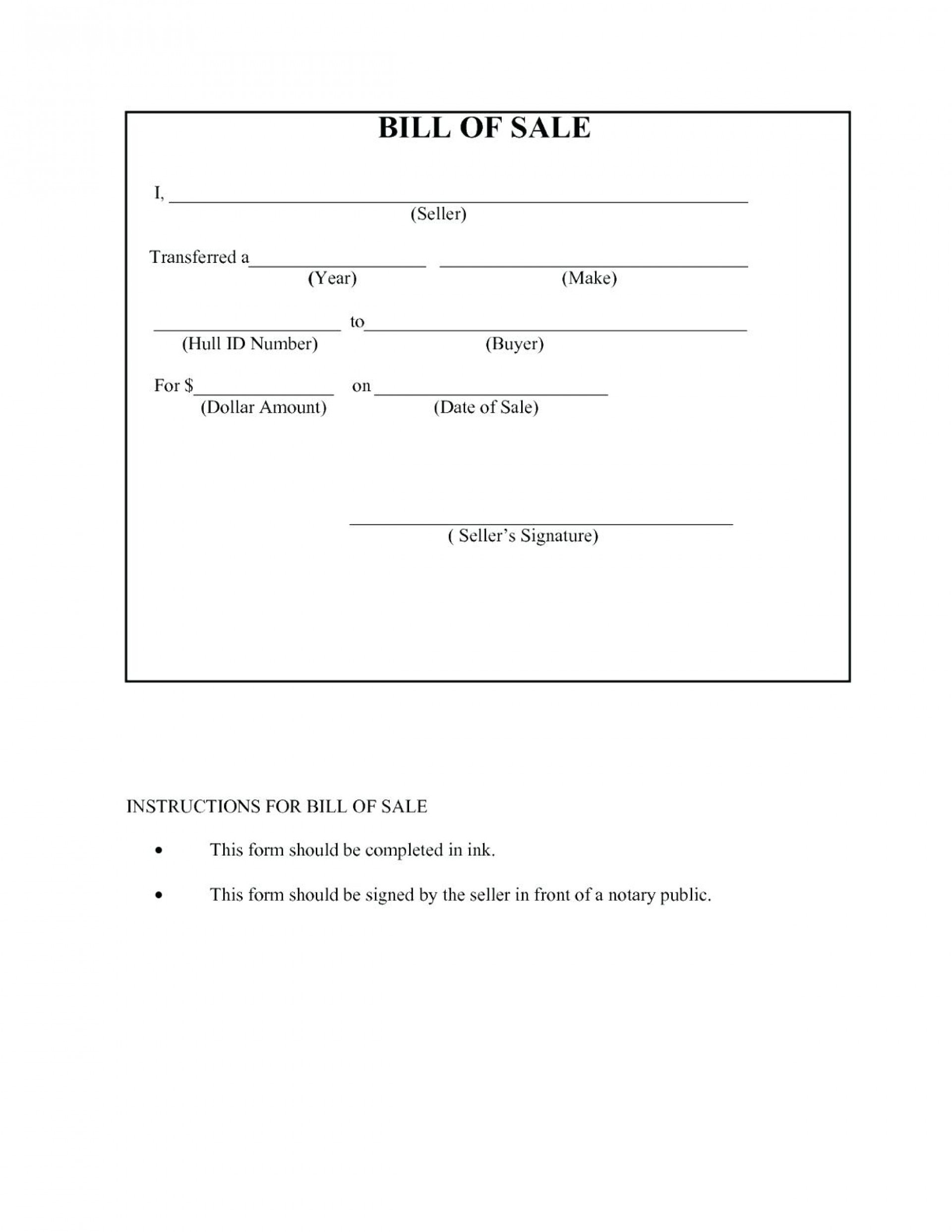 021 Free Printable Bill Of Sale Form Template New Best For Car Boat - Free Printable Bill Of Sale