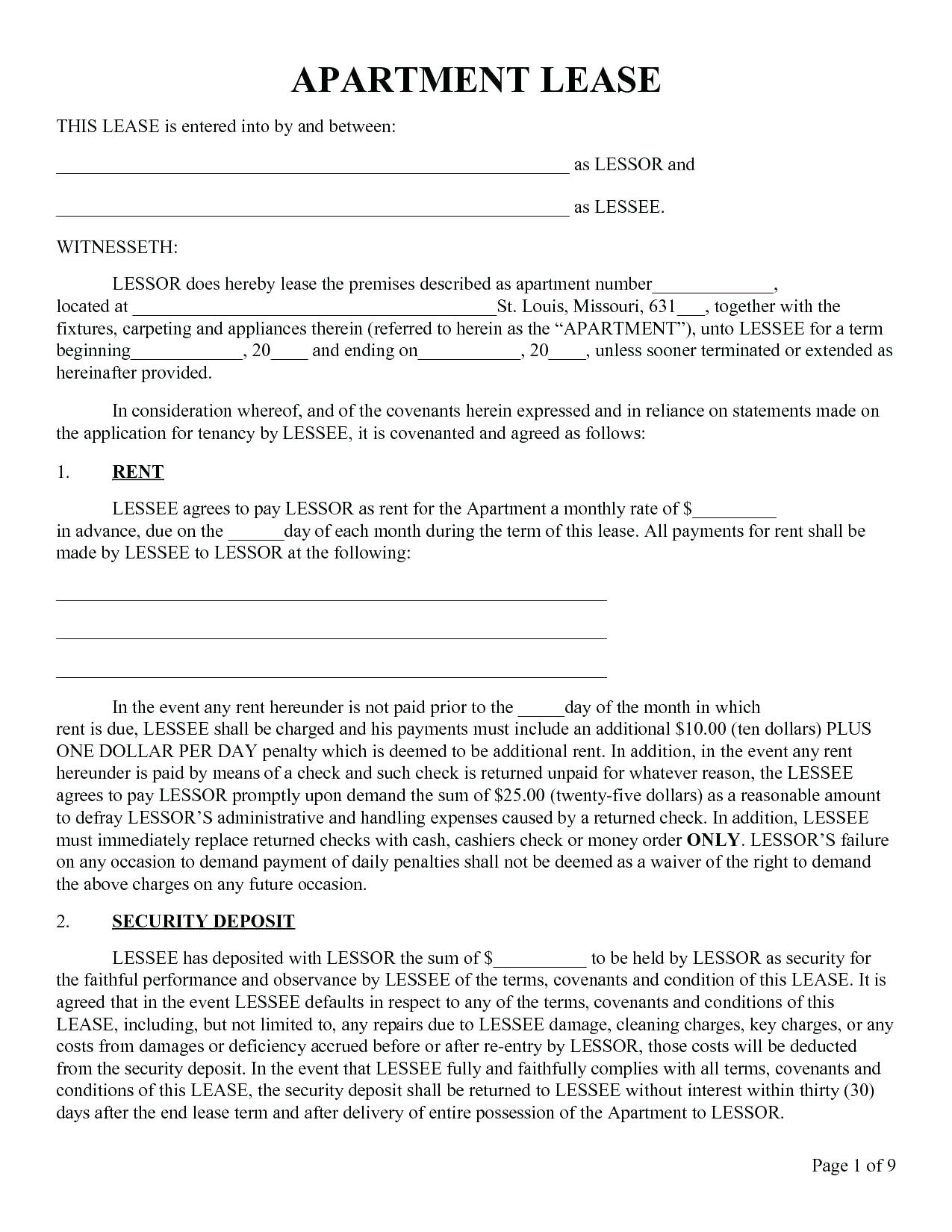021 Free Printable Lease Agreement Template Ideasntal Forms Form - Apartment Lease Agreement Free Printable