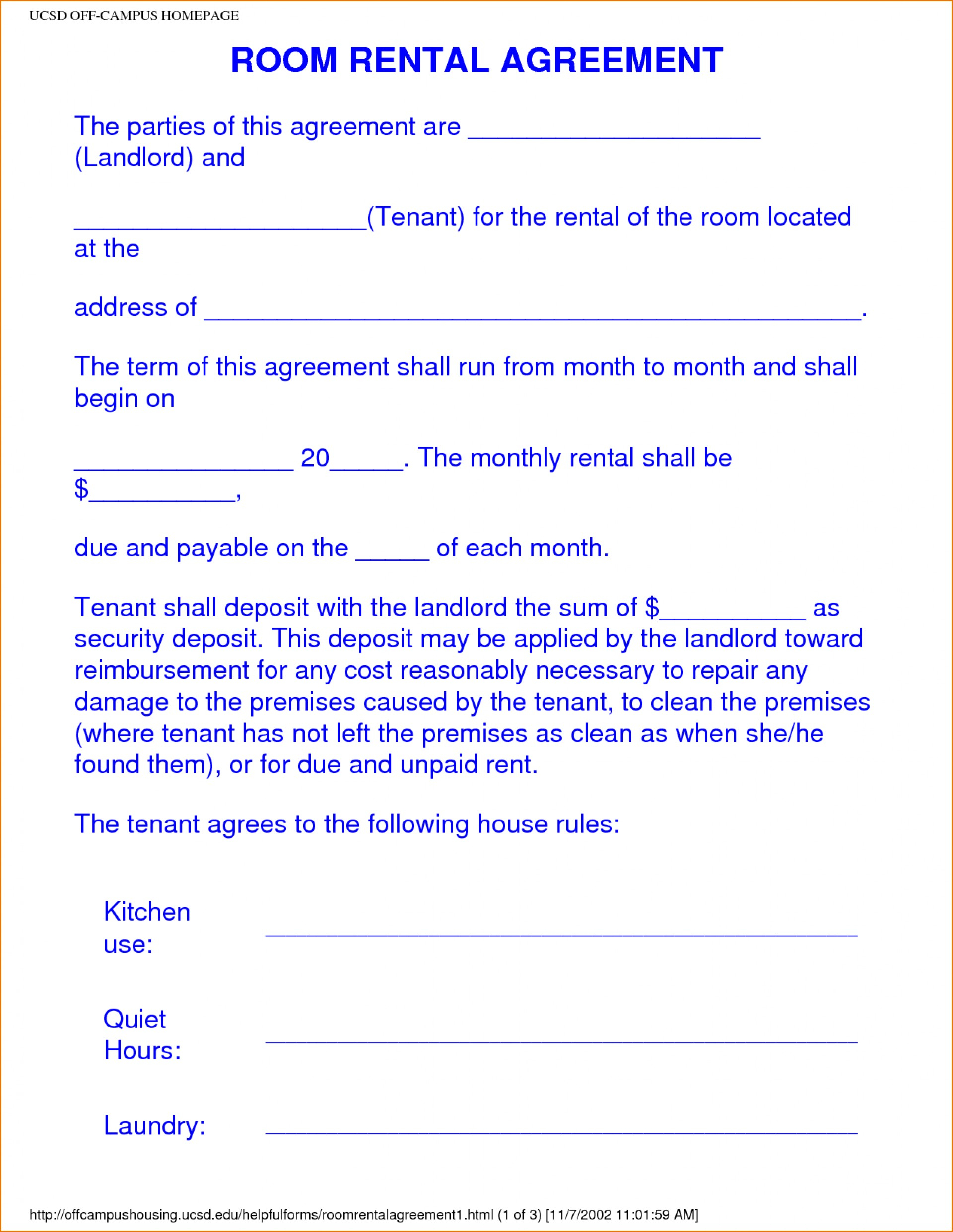 021 Free Printable Lease Agreement Template Ideasntal Forms Form - Free Printable Room Rental Agreement Forms