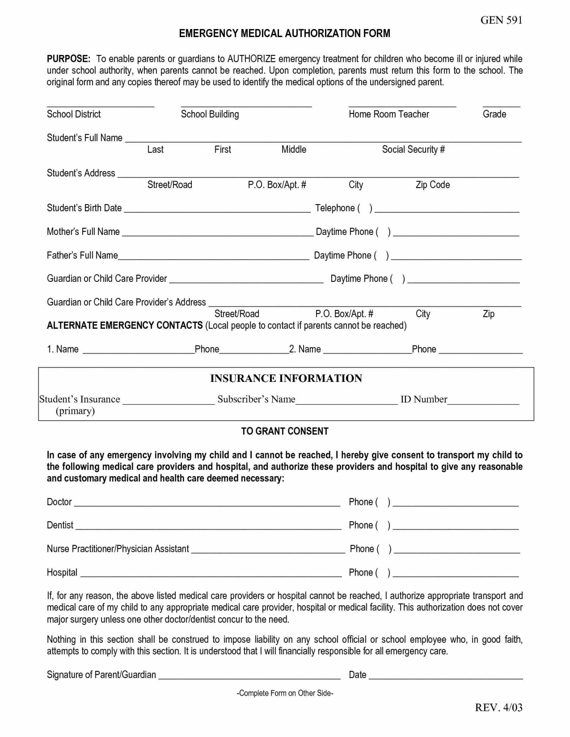 022 Medical Consent Forms Templates And Emergency Form Free - Free Printable Documents