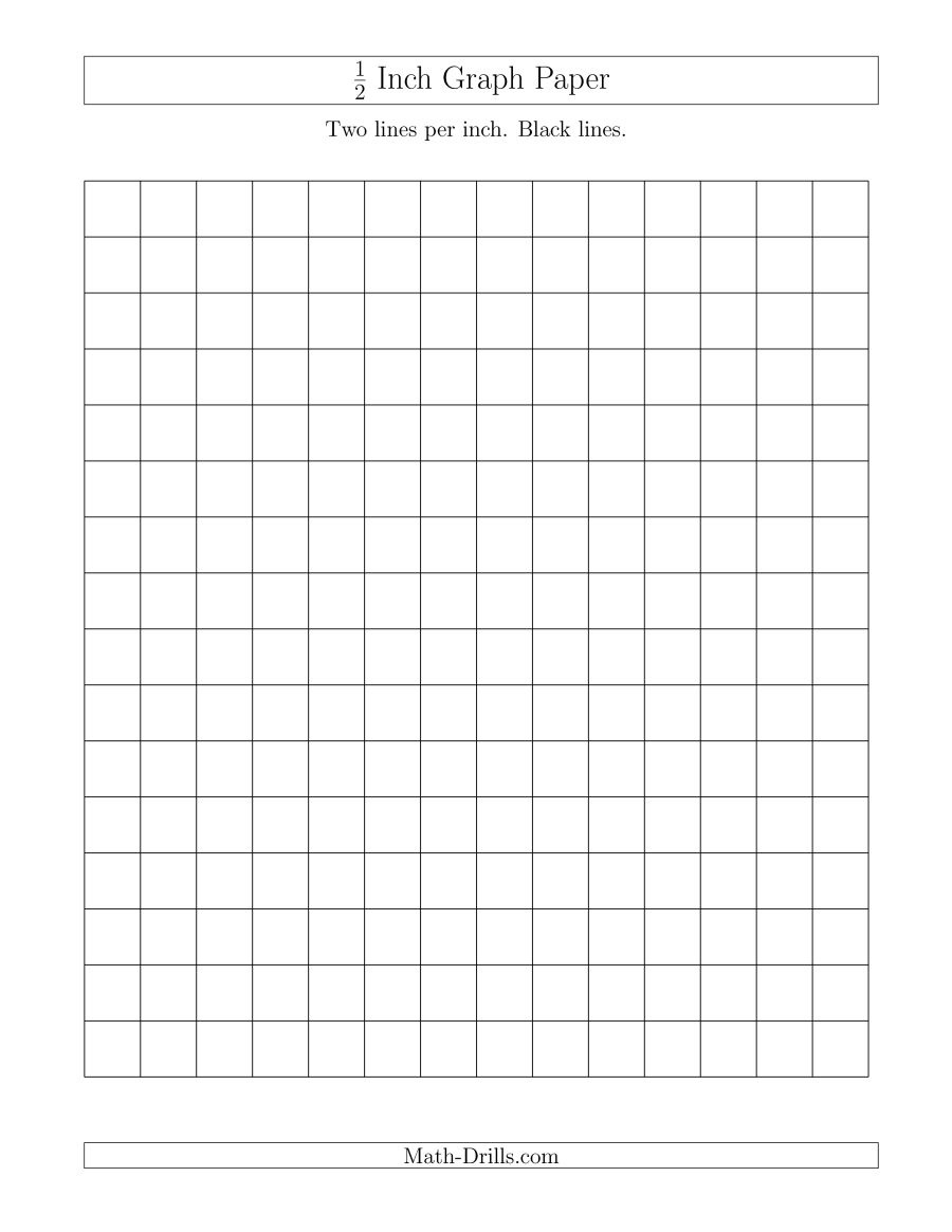 1/2 Inch Graph Paper With Black Lines (A) - Half Inch Grid Paper Free Printable