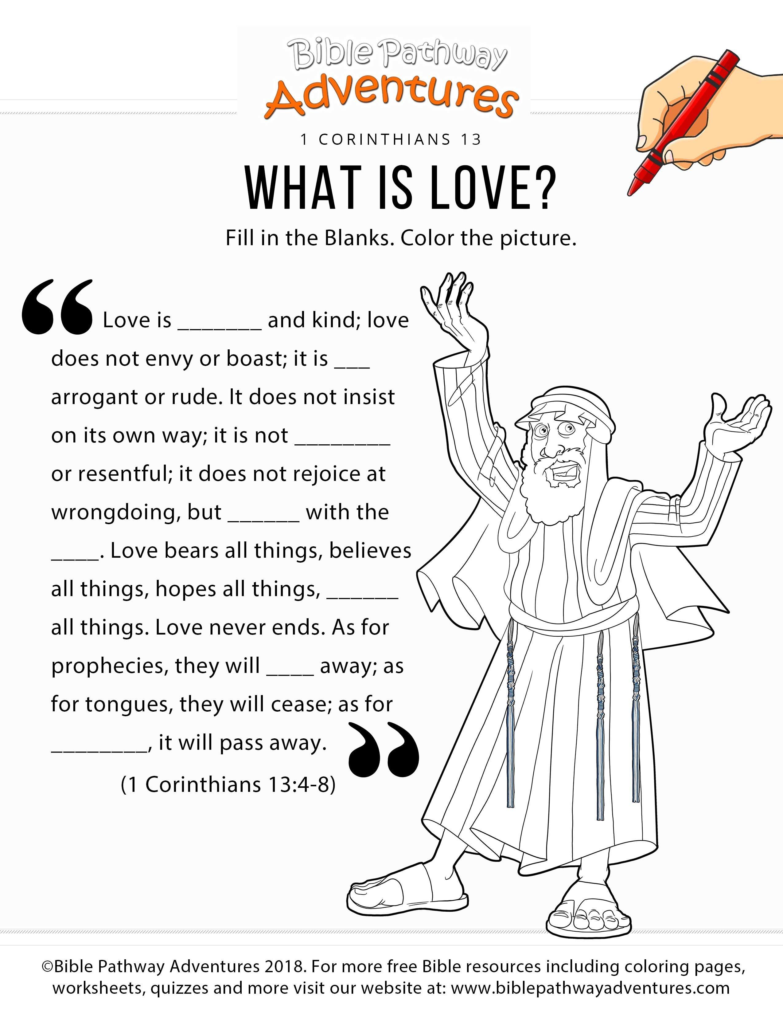 1 Corinthians 13 Bible Worksheet For Kids | Sunday School | Kids - Free Printable Children's Bible Lessons Worksheets