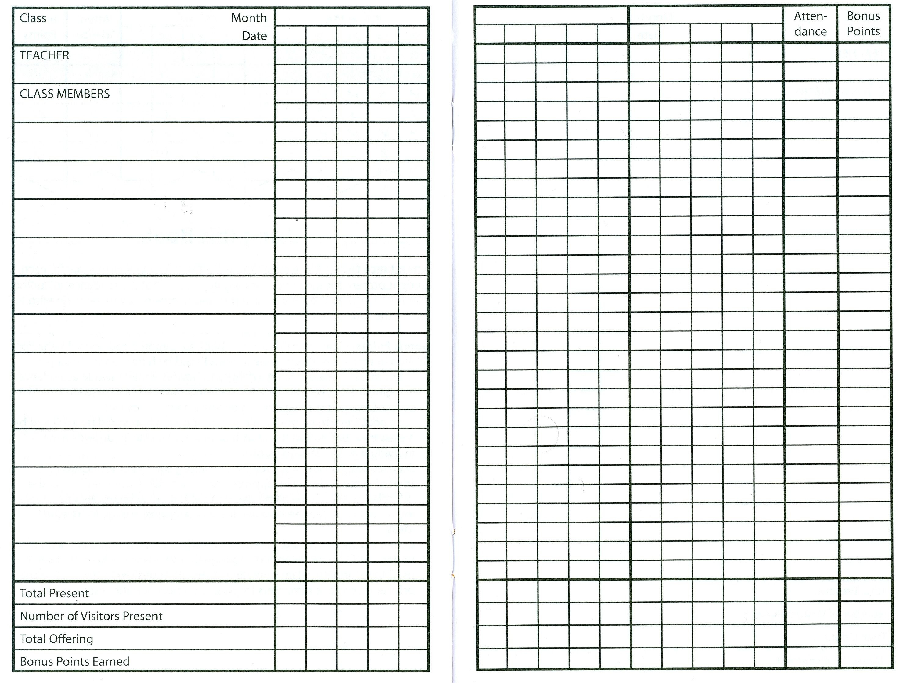 10 Best Images Of Sunday School Attendance Sheet Template Free - Free Printable Sunday School Attendance Sheet