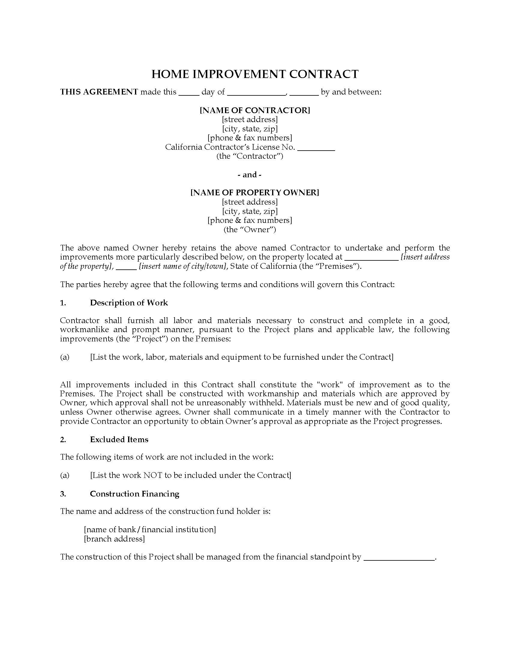 10 Remodeling Contract Templates To Download For Free Sample - Free Printable Home Improvement Contracts