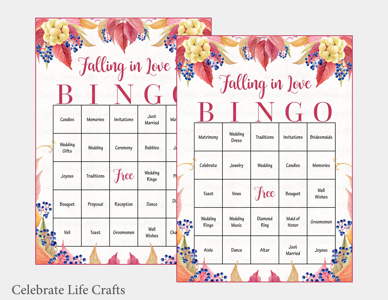 100 Falling In Love Wedding Bingo Cards Fall Bridal Shower | Etsy - Free Printable Bingo Cards 1 100