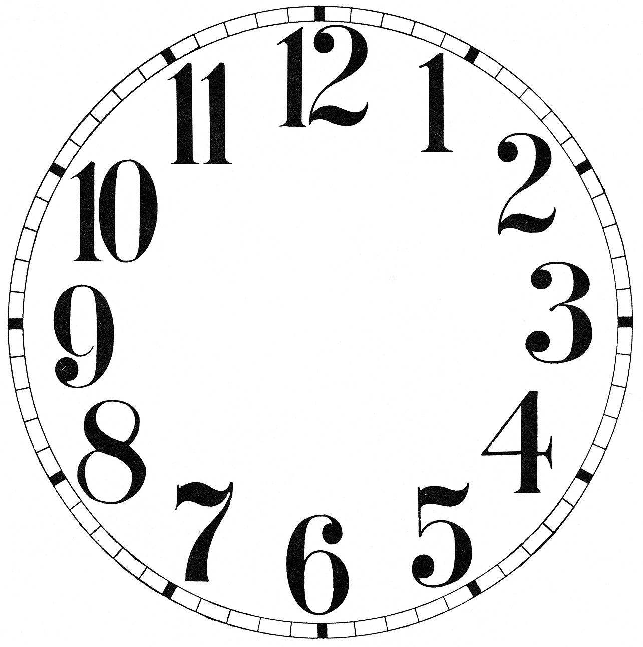 11 Clock Face Images - Print Your Own! - The Graphics Fairy - Free Printable Clock Faces