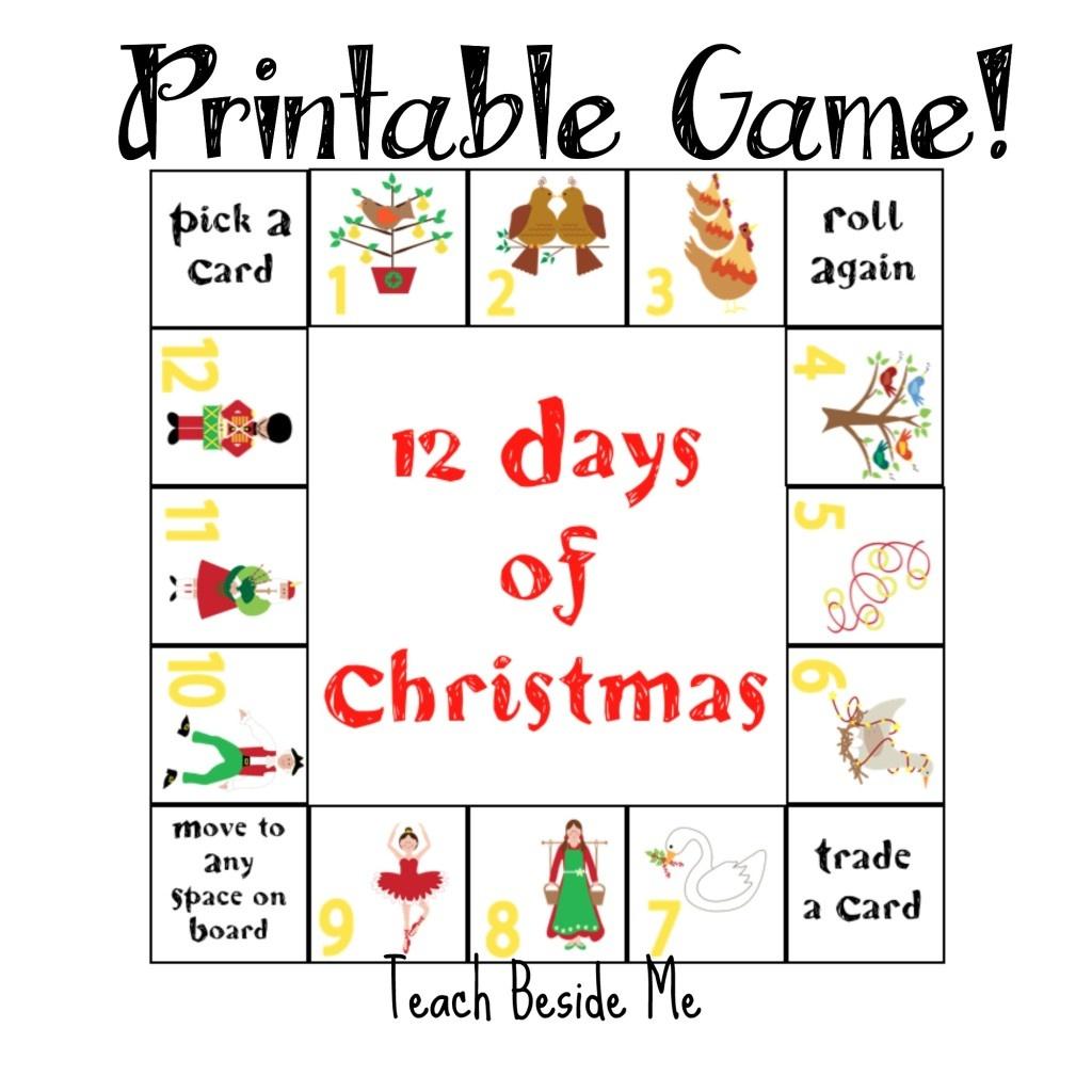 12 Days Of Christmas Printable Game – Teach Beside Me - Free Printable Christmas Board Games