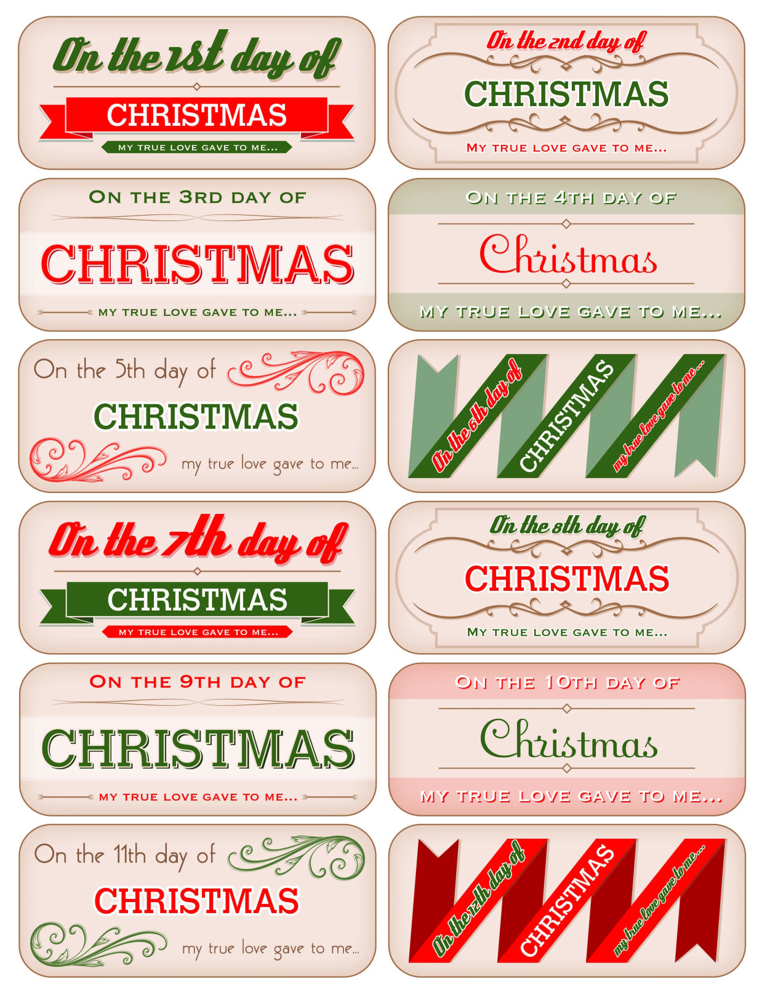 12 Days Of Christmas Tags - Free Download! | Decking The Halls With - Free Printable 12 Days Of Christmas Gift Tags