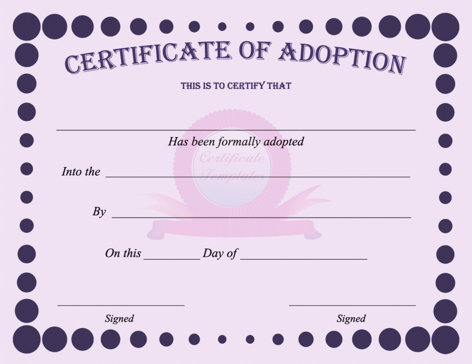 15+ Adoption Certificate Templates | Free Printable Word & Pdf - Free Printable Adoption Certificate