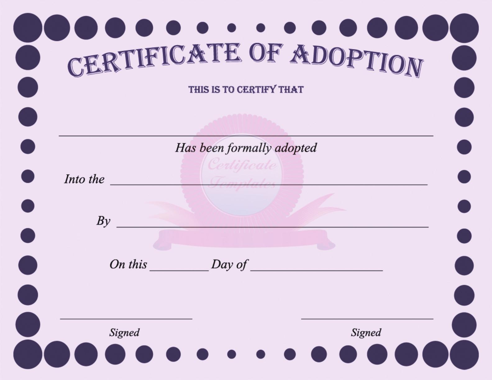 15+ Adoption Certificate Templates | Free Printable Word & Pdf - Free Printable Adoption Certificate