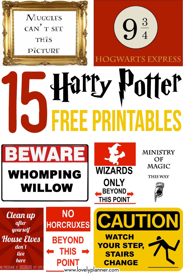 15 Free Harry Potter Party Printables - Part 1 - Lovely Planner - Free Printable Harry Potter Posters