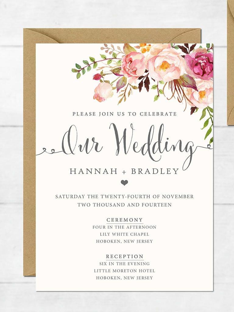 16 Printable Wedding Invitation Templates You Can Diy | Wedding - Free Printable Wedding Invitation Templates