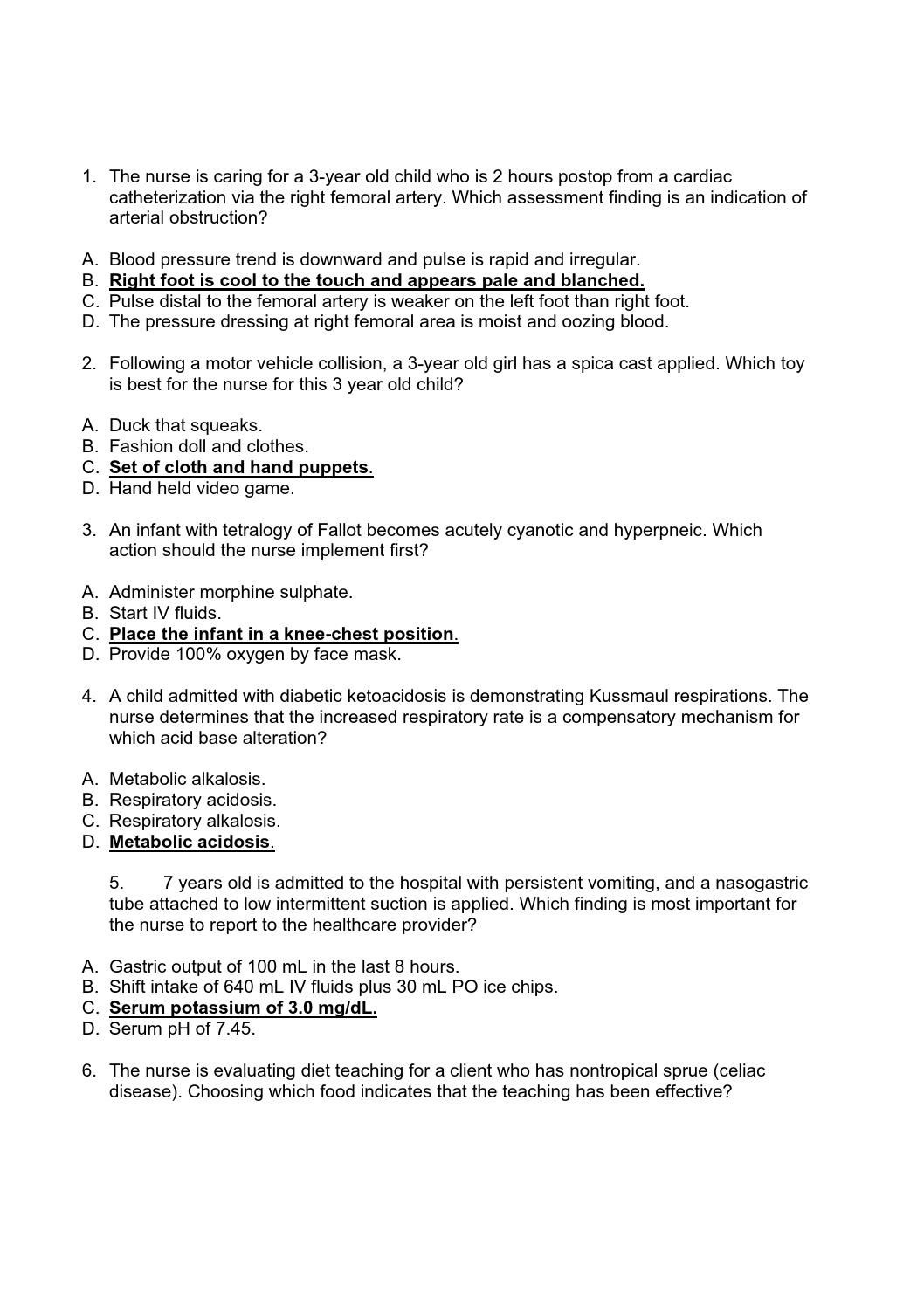 176013145 Hesi Pediatric Exam 55 Questions   Nurse   Pediatrics - Free Printable Hesi Study Guide