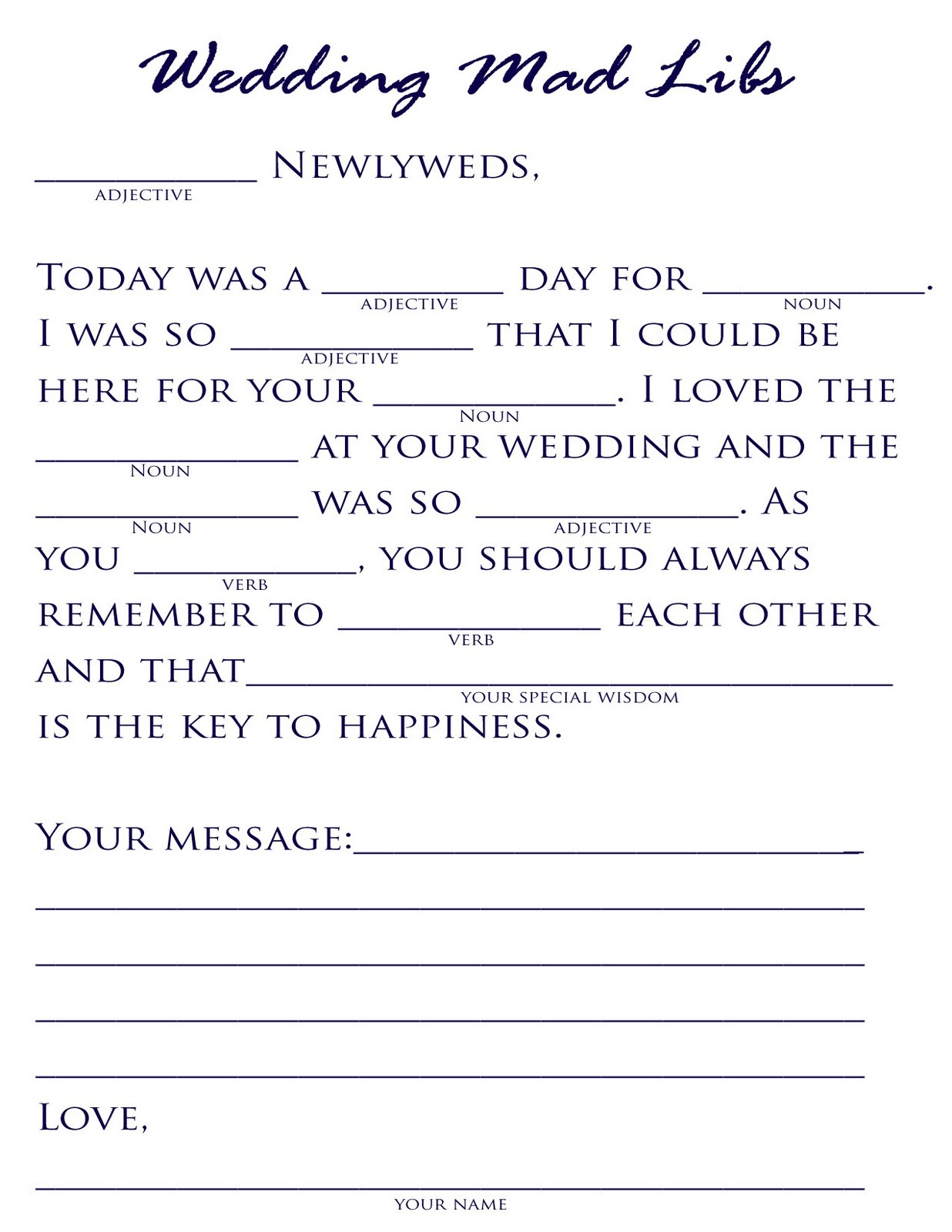 18 Fun Wedding Mad Libs | Kittybabylove - Free Printable Wedding Mad Libs