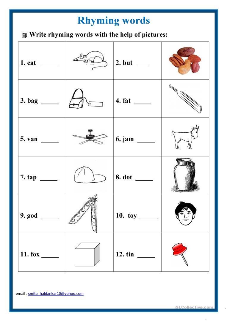 19 Free Esl Rhyming Words Worksheets - Free Printable Rhyming Words