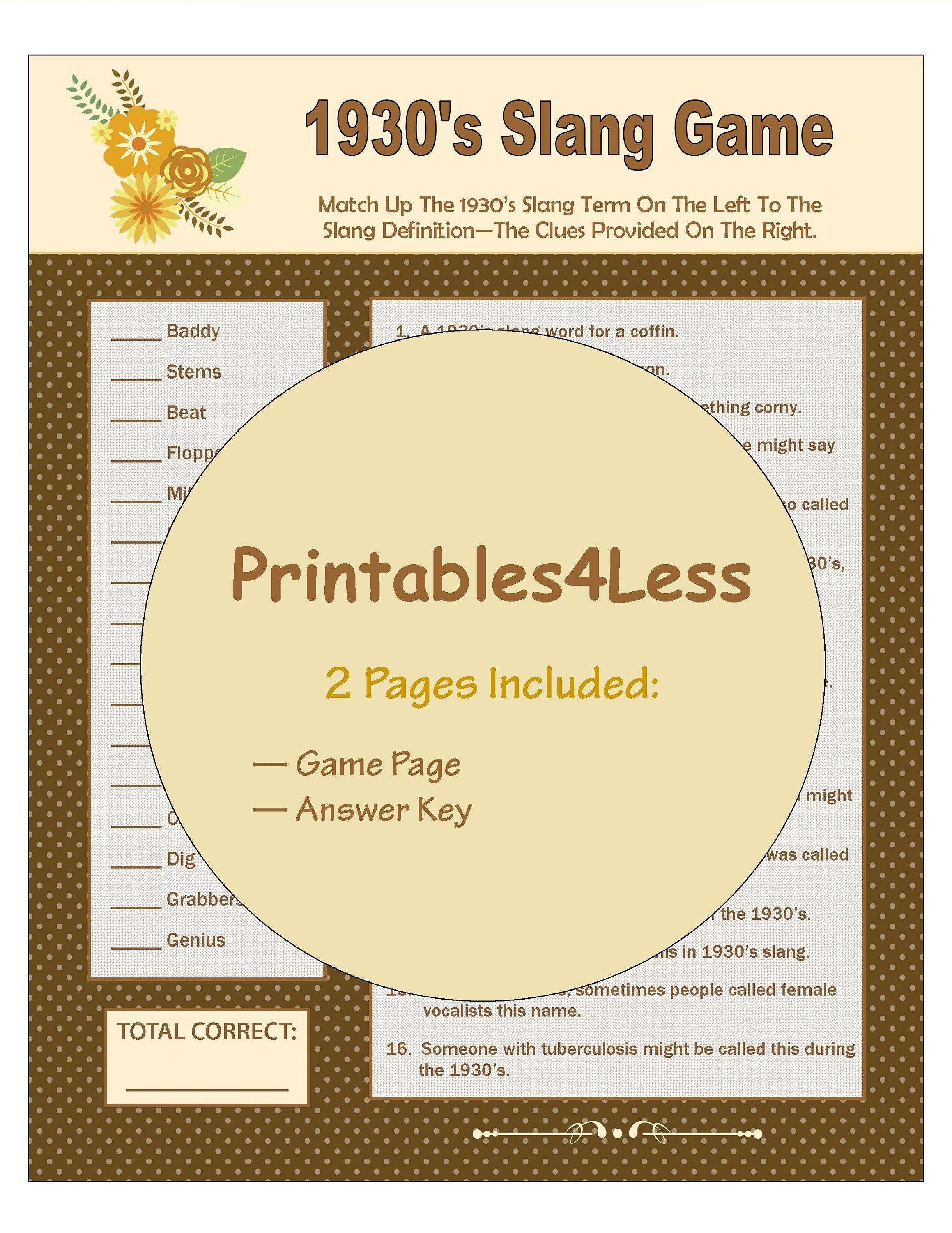 1930S Slang Games 1930S Party Ideas Party Group Games   Etsy - Over The Hill Games Free Printable