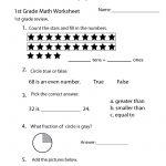 1St Grade Math Review Worksheet Printable | Elementary Math   Free Printable Worksheets For 1St Grade