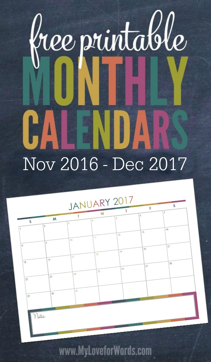 2017 Monthly Calendar Free Printables For Your Most Organized Year Yet - Free 2017 Printable