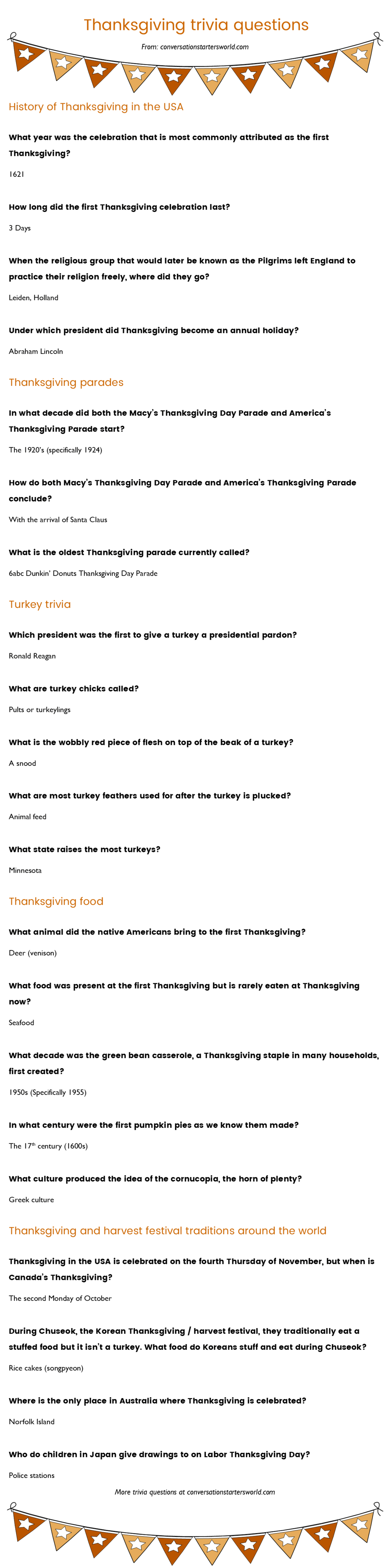 21 Thanksgiving Trivia Questions Most People Don't Know The Answer To - Halloween Trivia Questions And Answers Free Printable