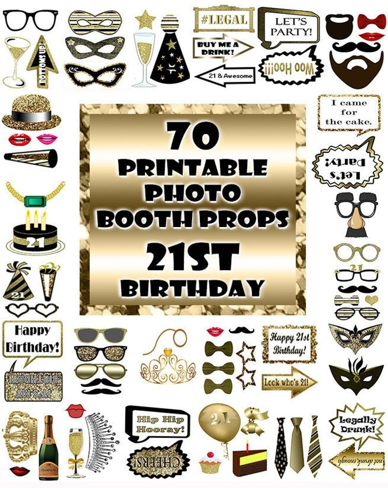 21St Birthday Photo Booth Props Black And Gold Over 70 Adult | Etsy - Free Printable 70's Photo Booth Props