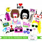 23Pc I Heart The 80's Themed Photo Booth Props/wedding Photobooth   80S Photo Booth Props Printable Free