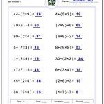 24 Printable Order Of Operations Worksheets To Master Pemdas!   Free Printable Math Worksheets 6Th Grade Order Operations
