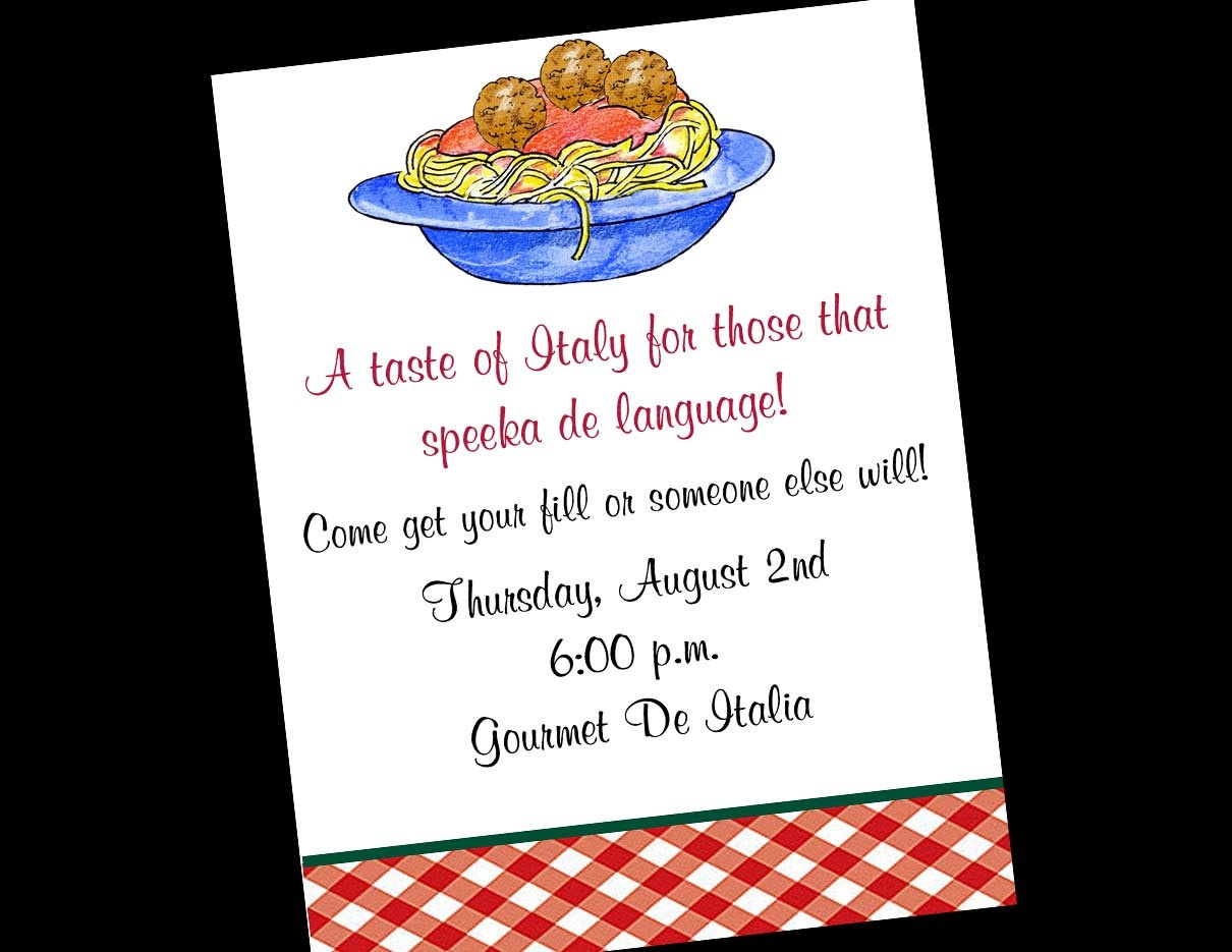 28 Images Of Free Template For Italian Party | Unemeuf - Free Printable Italian Dinner Invitations