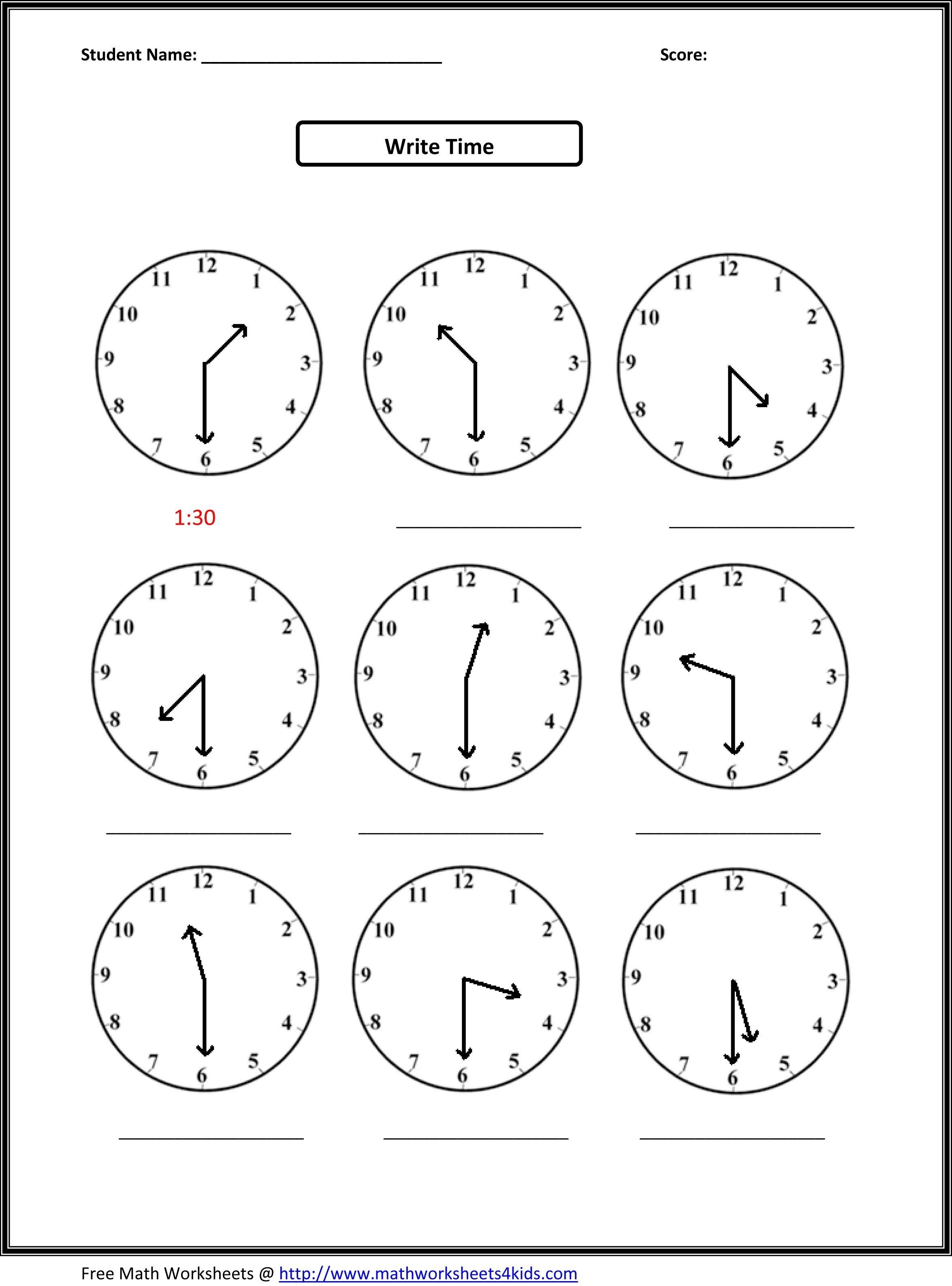 2Nd Grade Free Worksheets Math | Math: Time/measurement | 2Nd Grade - Free Printable First Grade Math Worksheets