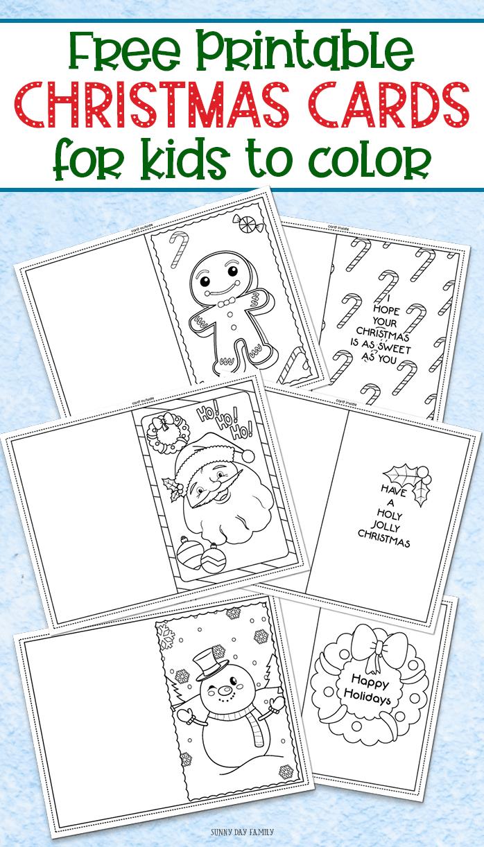 3 Free Printable Christmas Cards For Kids To Color | Sunny Day Family - Free Printable Cards To Color
