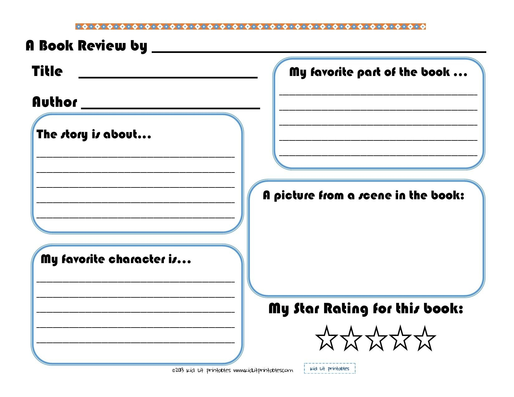 3 Levels Of Free Printable Book Reports From Kid Lit Printables - Free Printable Books For Kindergarten