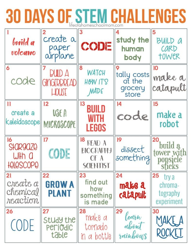 30 Days Of Stem Challenges - Free Printable | Homeschooling | Stem - Free Printable Stem Activities