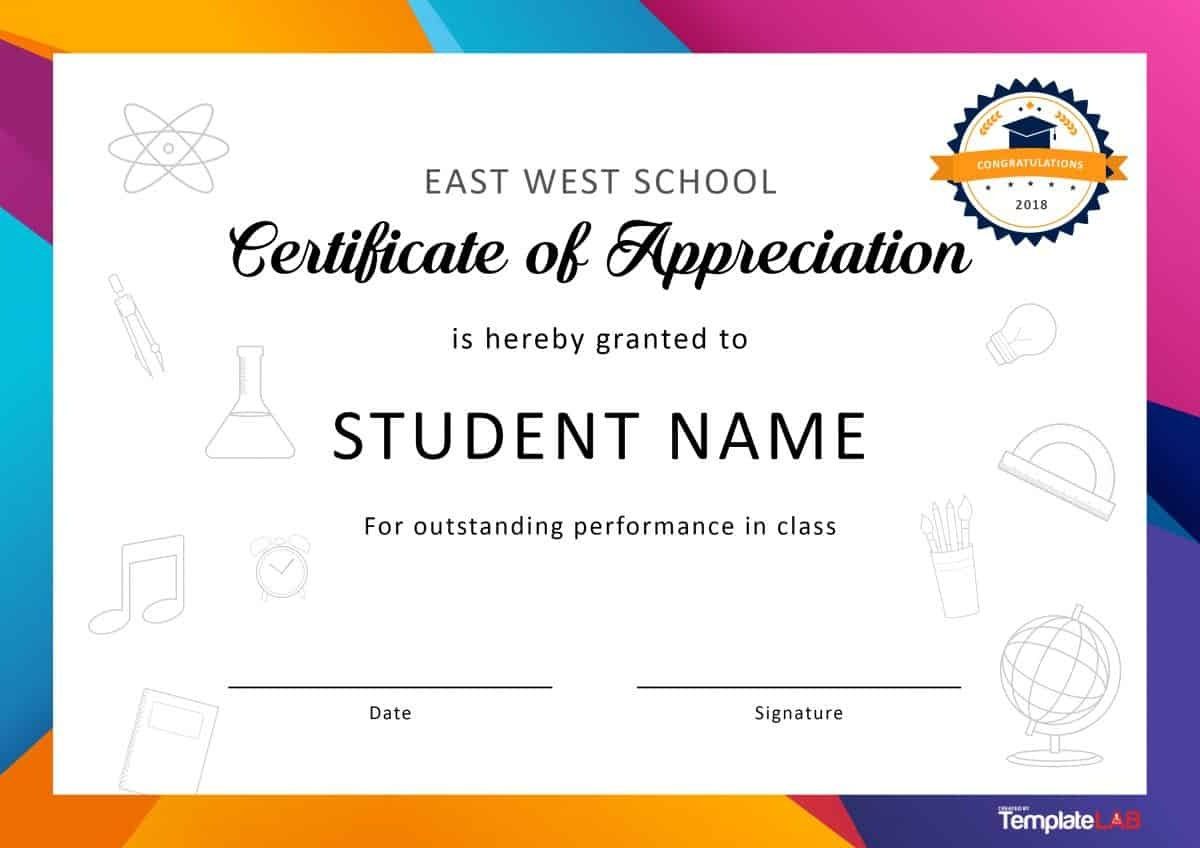 30 Free Certificate Of Appreciation Templates And Letters - Free Printable Certificates For Students