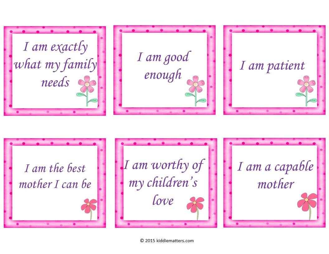 30 Free Positive Affirmation Cards For Mothers - Kiddie Matters - Free Printable Positive Affirmation Cards