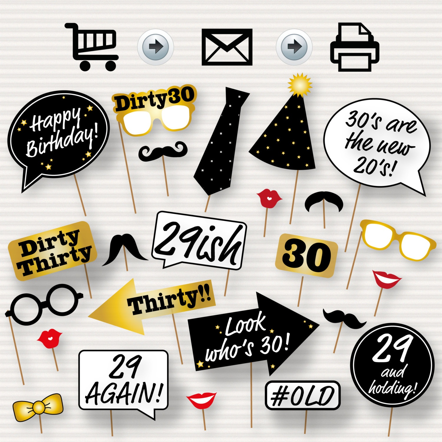 30Th Birthday Party Printable Photo Booth Props Glasses   Etsy - Free Printable 30Th Birthday Photo Booth Props