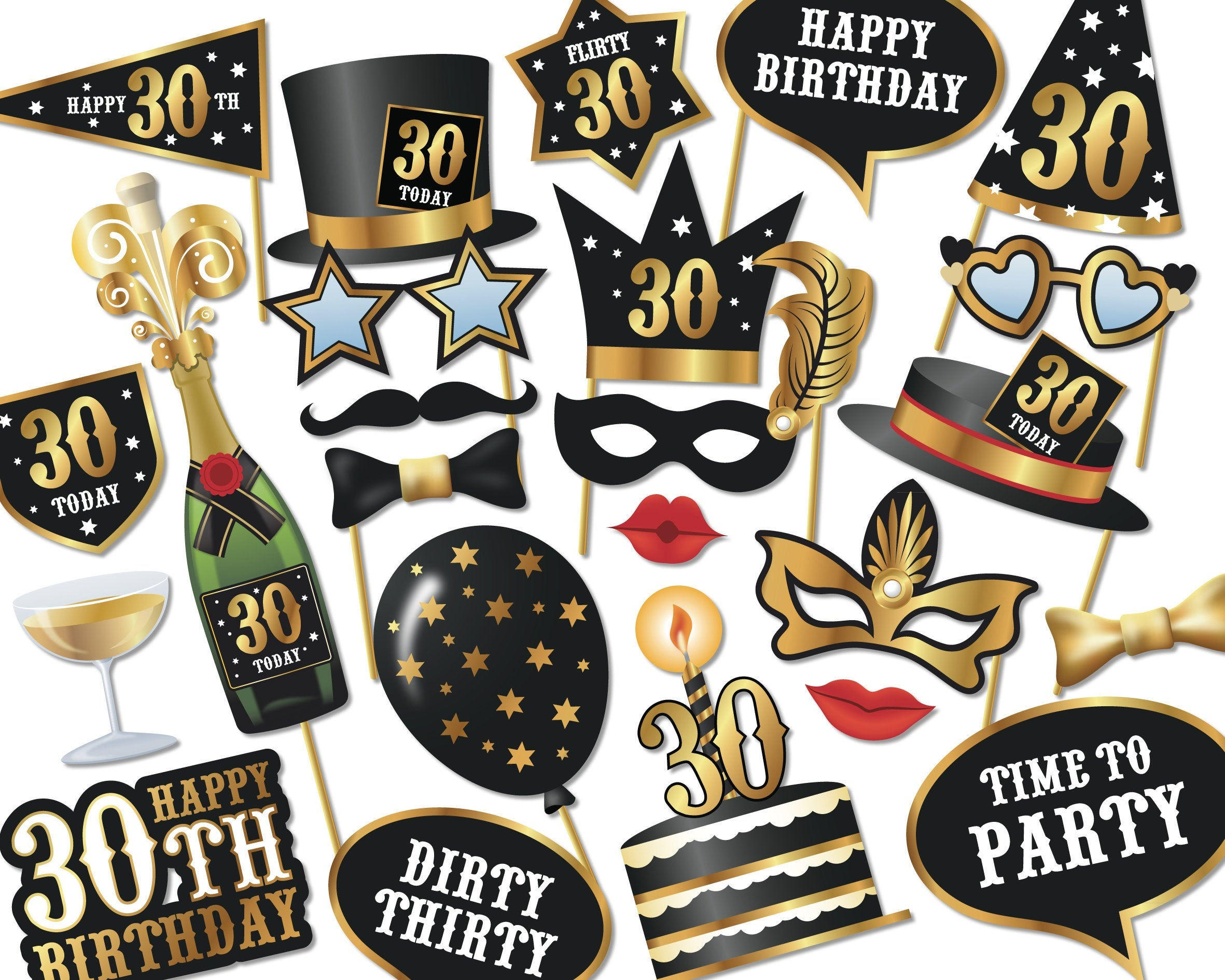 30Th Birthday Photo Booth Props Instant Download Printable   Etsy - Free Printable 30Th Birthday Photo Booth Props