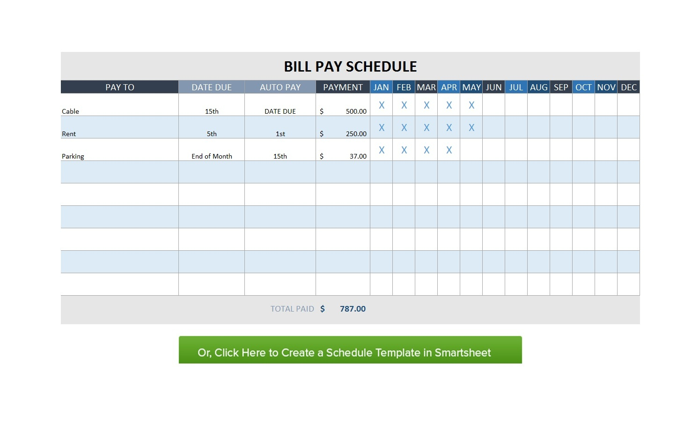 32 Free Bill Pay Checklists & Bill Calendars (Pdf, Word & Excel) - Free Printable Bill Organizer