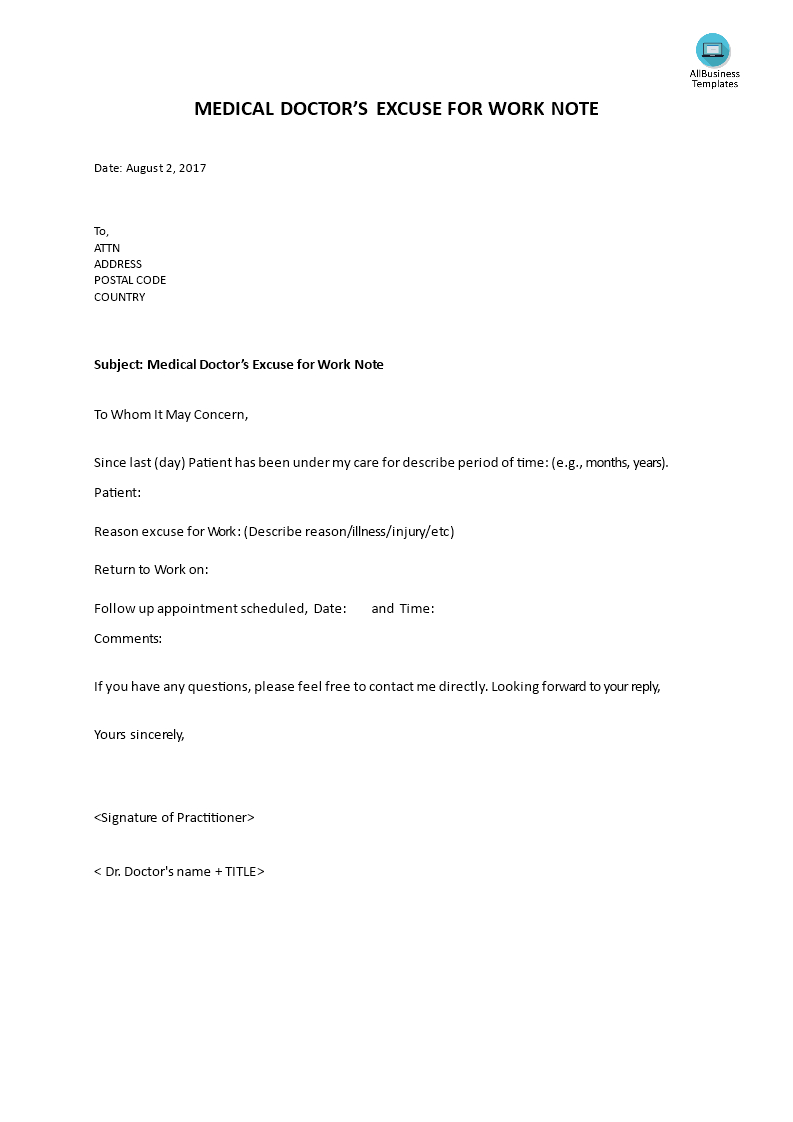 33+ Fake Doctors Note Template Download [For Work, School & More] - Doctor Notes For Free Printable